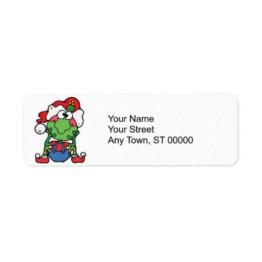 duende tonto del froggy del navidad etiquetas de remite