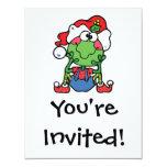 duende tonto del froggy del navidad invitación 10,8 x 13,9 cm