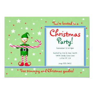 Duende verde del bastón de caramelo de la fiesta invitaciones personalizada