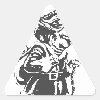 Duende viejo del navidad pegatina triangular