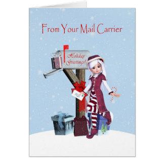 Duende y buzón buenas fiestas del cartero tarjeta de felicitación