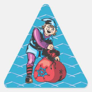 Duende y juguetes del navidad pegatina triangular