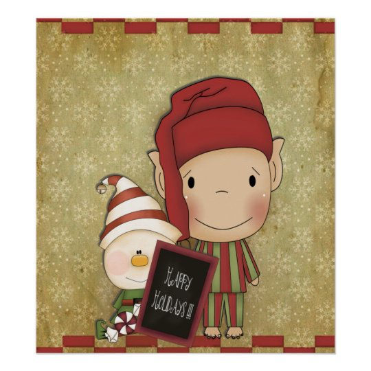 Duende y muñeco de nieve con una muestra feliz del póster