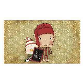 Duende y muñeco de nieve con una muestra feliz del tarjetas de visita