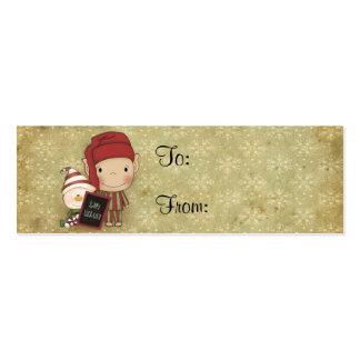 Duende y muñeco de nieve con una muestra feliz del tarjetas de visita mini