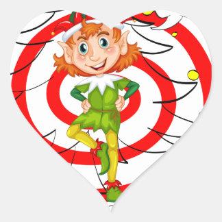Duende y navidad pegatina en forma de corazón