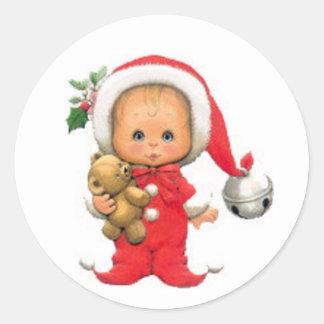 Duende y peluche del bebé del navidad pegatina