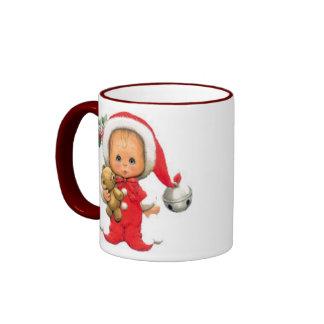 Duende y peluche del bebé del navidad taza de dos colores