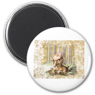 Duende y setas 2 inch round magnet