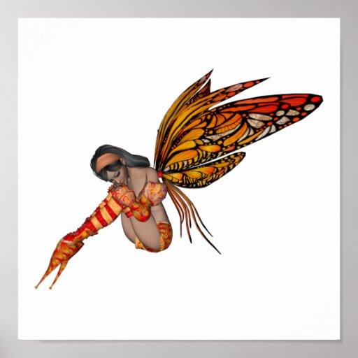 Duendecillo anaranjado de la mariposa de monarca 3 impresiones