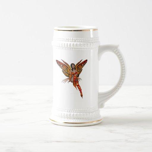 Duendecillo anaranjado de la mariposa de monarca 3 taza