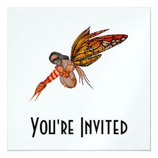 """Duendecillo anaranjado de la mariposa de monarca invitación 5.25"""" x 5.25"""""""