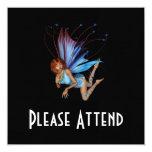 Duendecillo del Redhead 3D - púrpura y azul Invitación 13,3 Cm X 13,3cm