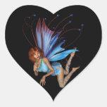 Duendecillo del Redhead 3D - púrpura y azul Calcomanías Corazones Personalizadas