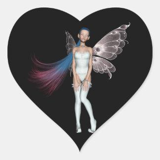 Duendecillo rosado y azul del pelo en blanco pegatina en forma de corazón