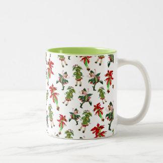 Duendecillos adaptables del navidad del vintage taza dos tonos