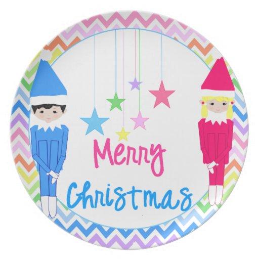 Duendes del navidad de Ella y de Elfie Platos De Comidas