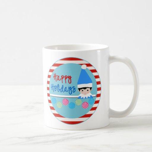 Duendes del navidad de Ella y de Elfie Tazas De Café