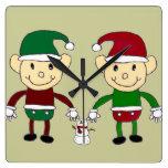 Duendes del navidad reloj de pared