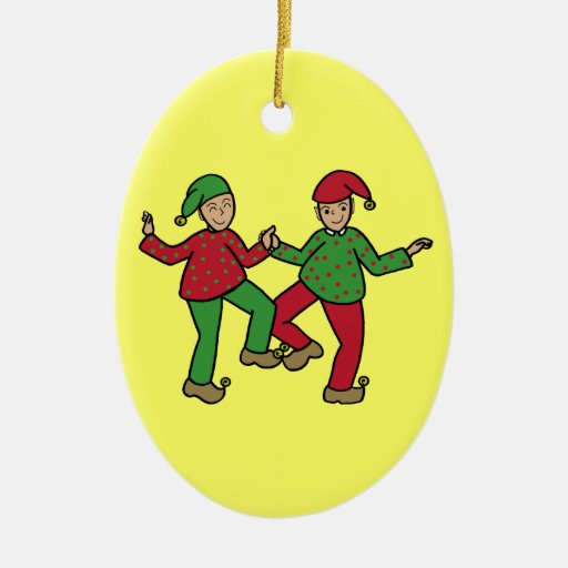 Duendes felices adorno navideño ovalado de cerámica