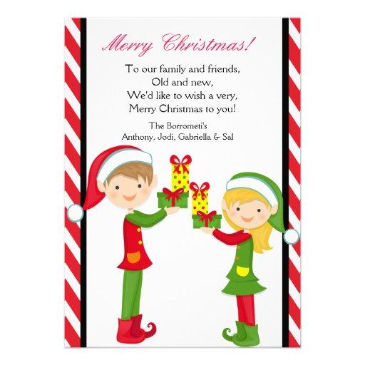 Duendes lindos con la tarjeta de Navidad de los re Invitación