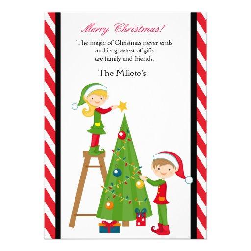 Duendes lindos que adornan la tarjeta de Navidad d Comunicados Personales