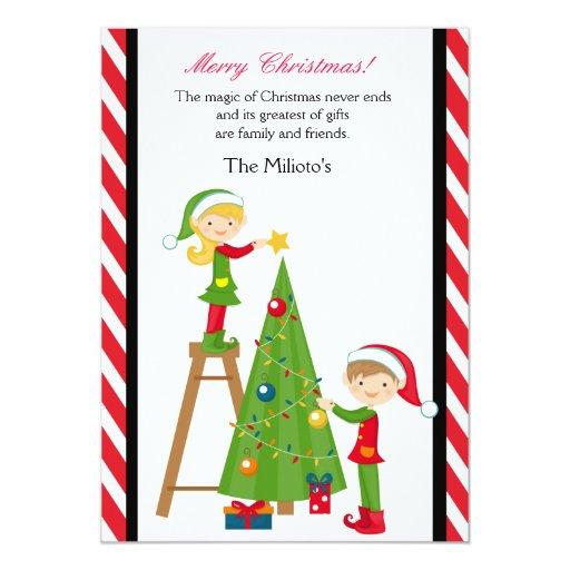 """Duendes lindos que adornan la tarjeta de Navidad Invitación 5"""" X 7"""""""