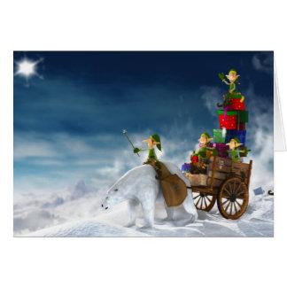 Duendes que entregan los presentes para el navidad tarjeta de felicitación