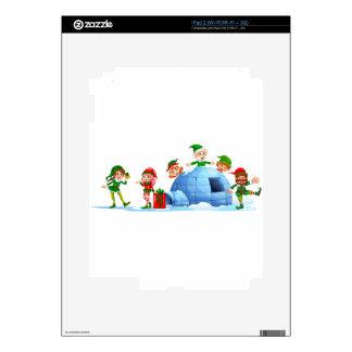 Duendes que juegan fuera del iglú calcomanías para iPad 2