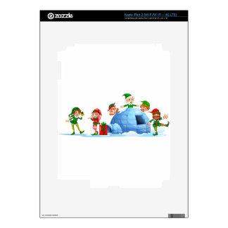 Duendes que juegan fuera del iglú pegatina skin para iPad 3