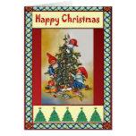 Duendes y el árbol de navidad tarjeton