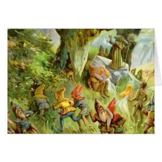 Duendes y gnomos en el bosque mágico oscuro profun felicitaciones