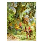 Duendes y gnomos en el bosque mágico oscuro profun tarjeta postal