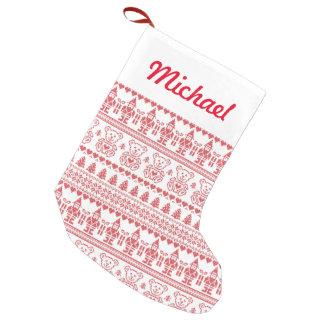 Duendes y osos de peluche calcetín de navidad pequeño