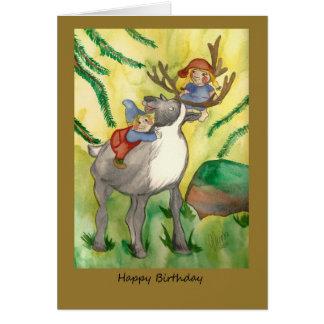 Duendes y tarjeta de cumpleaños del reno