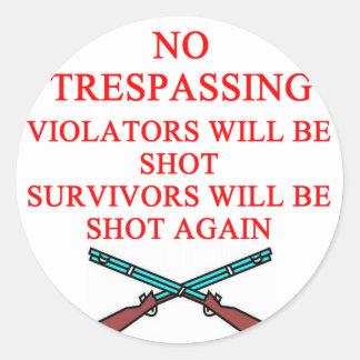 dueño de arma ninguna violación pegatina redonda