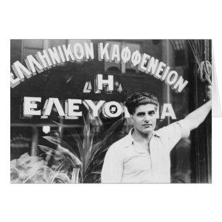 Dueño de cafetería griego 1937 felicitación