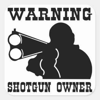 Dueño de la escopeta pegatina cuadrada
