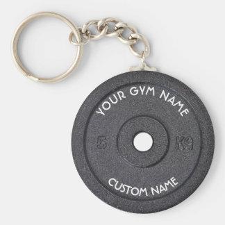 Dueño o usuario del gimnasio con el texto curvado llavero redondo tipo pin