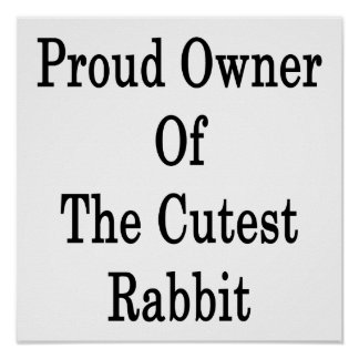 Dueño orgulloso del conejo más lindo poster