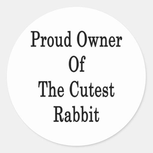 Dueño orgulloso del conejo más lindo pegatina redonda