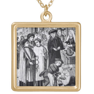 Dues on Wines, granted to the Chapter of Tournai b Square Pendant Necklace