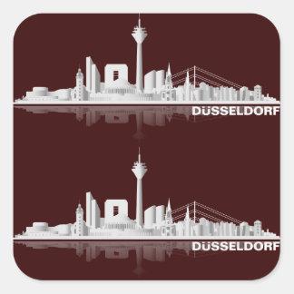 Duesseldorf town center of skyline gift idea square sticker