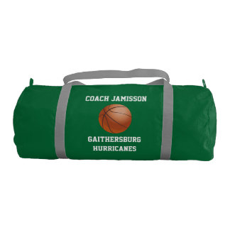 Duffel Bag for Basketball Coach Green Personalized