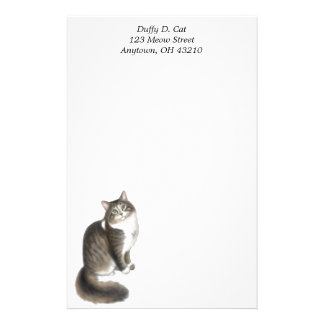Duffy the Maine Coon Cat Customizable Stationery