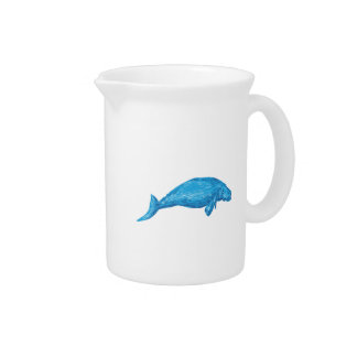Dugong Drawing Beverage Pitcher