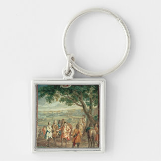Duke of Marlborough at Fall of Lille in December Silver-Colored Square Keychain