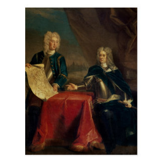 Duke of Marlborough discussing plans Postcard