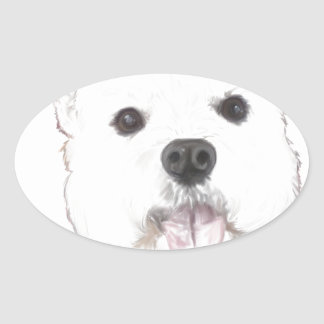 Duke the westie oval sticker