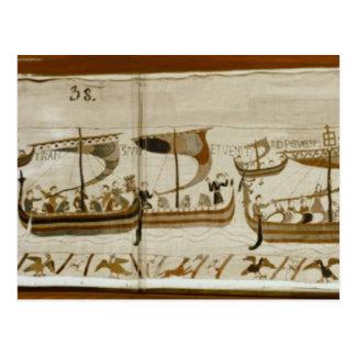 Duke William and his fleet cross Pevensey Postcard